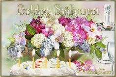 Animated Gif by Lady Moon Birthday Name, Happy Birthday, Gif Photo, Name Day, Floral Wreath, Table Decorations, Moon, Lady, Beautiful Flower Arrangements