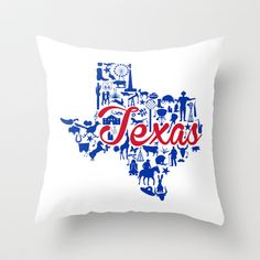SMU Texas Landmark State - Red and Blue Southern Methodist University Theme Throw Pillow by Painted Post - $20.00