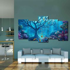 Fantasy Sea canvas 🌊 For living room or a bedroom! Art Deco Living Room, Living Room Interior, Home Decor Bedroom, Living Room Designs, House Design, Interior Design, Artwork, Remodeling Companies, Quality Furniture