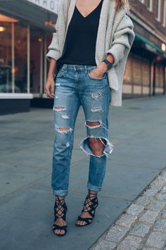 Chunky Knit Sweater Ripped Boyfriend Jeans Lace Up Heeled Sandals Prosecco and…