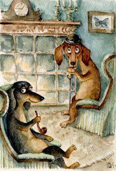 Dachshund – Friendly and Curious Vintage Dachshund, Dachshund Art, Dachshund Puppies, Weenie Dogs, Daschund, Scottish Terrier, Dog Art, Cute Dogs, Cute Animals