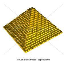 Stock de Ilustraciones. Pirámide formada con lingotes de oro. Ilustración libre.