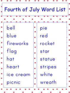Free printable Fourth of July vocabulary word list worksheets. Fourth Of July Crafts For Kids, 4th Of July, Preschool Class, Preschool Ideas, Vocabulary Words, Summer School, Spanish, Classroom, Teaching
