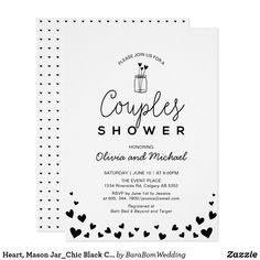 Heart, Mason Jar_Chic Black & White Couples Wedding Shower Invitation