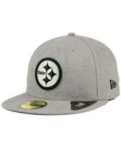 New Era Pittsburgh Steelers Heather Black White 59FIFTY Fitted Cap - Gray 7 3/8