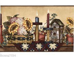 Elegant Birdhouse Candle Sunflower Peace Love Wall Paper Border