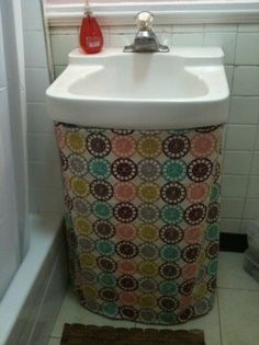 Superb Sink Skirt To Cover Pipes Of Outdated Wall Sink