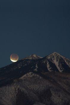 Lunar umbra over the Agassiz Peak, Flagstaff, AZ., during the eclipse of December 10, 2011.
