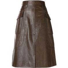 Prada straight split skirt (107.710 RUB) ❤ liked on Polyvore featuring skirts, brown, straight skirt, mid length leather skirt, mid length skirts, prada and brown leather skirt