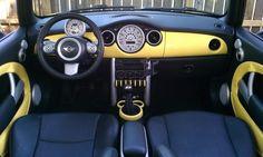 46 new Ideas cute cars interior vehicles Yellow Mini Cooper, Mini Cooper Interior, Mini Coper, Mini Cooper Custom, Pixar Cars Birthday, Preppy Car Accessories, Yellow Car, Car Mods, Cute Cars