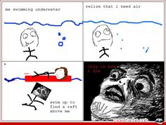 I've done this a lot but I get over the whole fearing for my one life thing when I come out of the water coughing, to face the person who I just ran into and then there is a new kind of fear. The fear of social interaction! **Gasps at thought** Rage Comics, Derp Comics, Funny Comics, Funny Jokes, Hilarious, Funny Pins, Funny Stuff, Troll Face, Minions