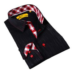 @Overstock - Brio Milano Men's Black/ Red Plaid Trim Button-down Shirt - A neutral black design highlights the red buttons and stylish print accents in tones of red, gray and white, creating a cool shirt. Made of cotton, this Brio Milano men's shirt provides enhanced comfort and requires minimal care.  http://www.overstock.com/Clothing-Shoes/Brio-Milano-Mens-Black-Red-Plaid-Trim-Button-down-Shirt/9310328/product.html?CID=214117 $39.99