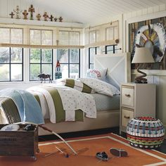 Little boys room. Love the comforter and the rug and all the colors in this boys room
