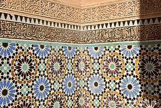 Detail of the wall of the Saadian Tombs in Marrakech, Morocco