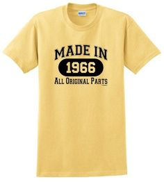 Made in 1966 All Original Parts T-Shirt 50th Birthday Gift for Men