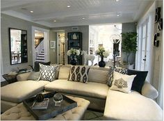 The Rancic's (Giuliana + Bill) house - though I love bright colours, I like everything about this room. really wanting to paint our living room light gray. trying to talk the hubs into it. Home Living Room, Living Room Designs, Living Room Decor, Living Spaces, Living Area, Cozy Living, Style At Home, Decoration Inspiration, Decor Ideas