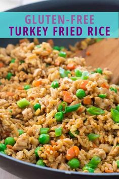 Gluten Free Ground Turkey Fried Rice Recipe - - - Gluten Free Ground Turkey Fried Rice is a quick and easy weeknight meal you can put on the table in under 20 minutes. It is a great way to use up any leftover veggies hanging out in your fridge. Quick Ground Turkey Recipes, Turkey And Rice Recipe, Ground Turkey Soup, Ground Turkey Tacos, Healthy Ground Turkey, Leftover Turkey Recipes, Leftover Rice, Dinner With Ground Turkey, Ground Turkey Casserole