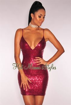 Wine Sequins Spaghetti Strap Open Back Dress. Night Out Outfit ClubwearClub  ... b99f919c9484