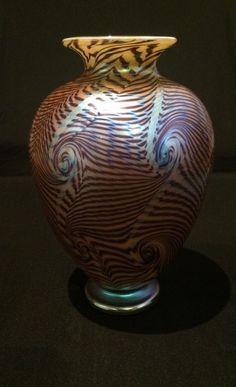 """Richard Gibbons Art Glass Vase Satava Studios 6.25"""" Tall"""