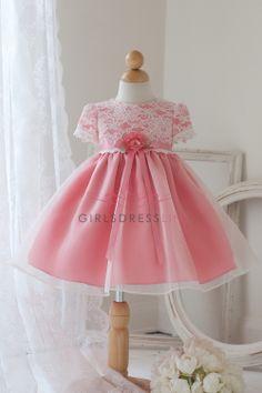 Ivory/Coral Vintage Lace Infant Dress JB810-IC $34.95 on www.GirlsDressLine.Com