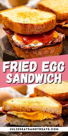 A classic Fried Egg Sandwich is a delicious twist on grilled cheese. It has melted cheese, fried bacon and egg along with ketchup inside toast. It's so easy to add any twist to it by adding ham, tomatoes, avocados, spinach and more. Make this easy sandwich today. #friedegg #sandwich
