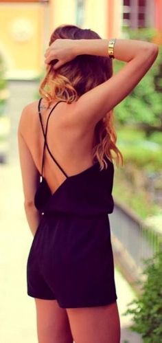 Stylish black backless romper :: obsessed