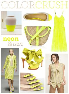Color Crush: Neon and Tan @ Ampersand Design Studios Color Trends, Color Combos, Neon Colour Palette, Neon Yellow, Colorful Fashion, Girl Fashion, Fashion Shoes, Style Me, Style Inspiration