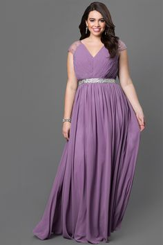 Drapey Long V-Neck Plus Prom Dress with Pleated Bodice, $149, PromGirl
