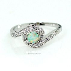 Opal Silver Ring CZ Halo White Fire Solitaire 925 Sterling Bypass Setting Engage #SolitaireHalo