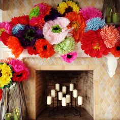 tissue paper flowers used to decorate over the mantle www.lovelucygirl.com