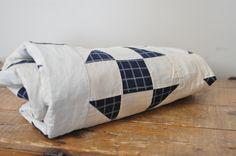Vintage Unfinished Shoo Fly Pattern Quilt Top Navy Blue and White on Etsy, $35.00