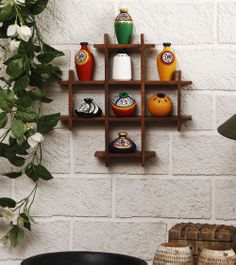 Wooden Wall Frame with Terracotta Pots