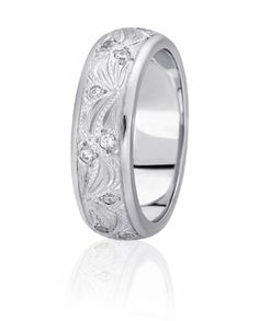 Floral Vine Design Wedding Band With Bead Set Diamonds