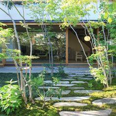 横内敏人建築設計事務所|T. Yokouchi Architect & Associate|京都市の住宅・建築設計事務所 Garden Paving, Garden Paths, Landscape Architecture, Landscape Design, Modern Planting, Natural Interior, Steel House, Tree Tops, Japanese House