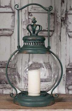 Large Crown Candle Holder Lantern Hurricane Glass Antique Green