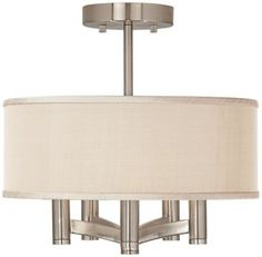 Den: Desert Sand with Brushed Nickel 14-Inch-W Ceiling Light  •14-inches wide. •13 1/2-inches wide. •Canopy is 5-inches wide. •14-inches wide and 5 1/4-inches high shade. •Takes five 60W candelabra bulbs (not included).