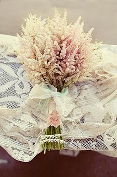 Beautiful pink and white astilbe bouquet. Very vintage and quintessential-perfect for a country wedding!