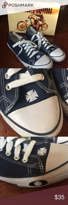 West coast choppers sneakers Warrior Lo 8 womens West Coast Choppers converse-like sneakers with Jesse James' chopper cross logo on tongue, toe and side of rubber sole. Size 8 womens. Worn once. A little big on me. (I'm a 7-7 1/2). Wcc footwear West Coast Choppers Shoes Sneakers