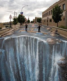pavement Optical Illusions | Pavement Waterfall Optical Illusion