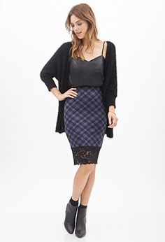 Plaid & Lace Pencil Skirt | FOREVER21 - 2000059429