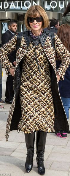 Ever the trendsetter, Anna pairs a Louis Vuitton dress with a £3,500 coat in the same print