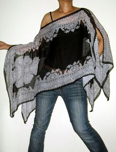 Gypsy Scarf Caftan Wing Casual Poncho Cover Top by Izzashop, $17.99