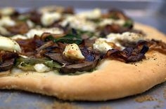 pizza with mushrooms, caramelized onions and goat cheese by sassyradish, via Flickr