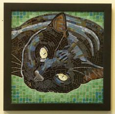 x mosaic made with stained glassBlack Cat Portrait Mosaic Artwork, Mosaic Wall Art, Mosaic Glass, Mosaic Art Projects, Mosaic Crafts, Stained Glass Patterns, Mosaic Patterns, Ragdoll Kittens, Tabby Cats