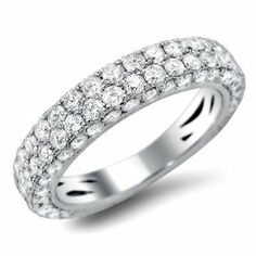 2.30ct Round Pave Diamond Wedding Band Ring 14k White Gold Front Jewelers. $2399.00