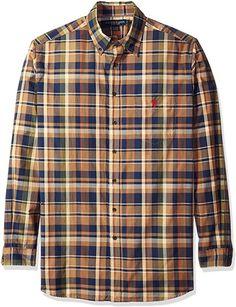 9ad5f73b U.S. Polo Assn. Men's Big and Tall Long Sleeve Sporty Plaid Poplin Woven  Shirt,