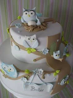 baby shower cake Use lace over a chocolate cake, sprinkle with powered sugar, then carefully remove lace. owl cake Baby Shower Ca. Gateau Baby Shower, Baby Shower Cakes, Baby Shower Themes, Shower Ideas, Gorgeous Cakes, Pretty Cakes, Cute Cakes, Owl Cakes, Cupcake Cakes