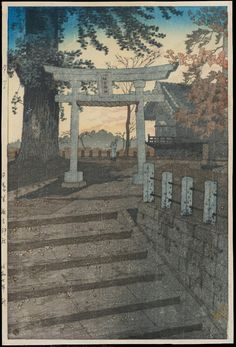Japanese Color Woodblock Print Evening Sky, Suwa Shrine, Nippori by Kasamatsu Shirō, 1932 Japanese Artwork, Japanese Painting, Japanese Prints, Japan Illustration, Arte Grunge, Art Occidental, Japanese Woodcut, Art Asiatique, Art Japonais
