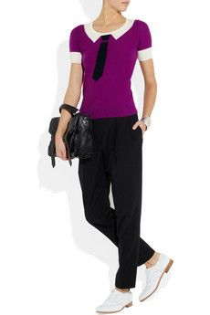 Cool and fun Sonia by Sonia Rykiel cotton and cashmere-blend top in violet