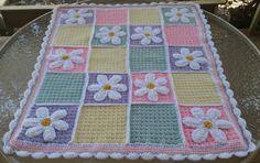 Flower crochet blanket, girls blanket, wall hanging, girls room decor, girls bedding,crochet throw, shower, flower applique, quilt, nursery